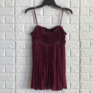 Express burgundy pleated sequin 100% silk